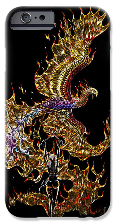 Phoenix IPhone 6 Case featuring the drawing Phoenix by Stanley Morrison