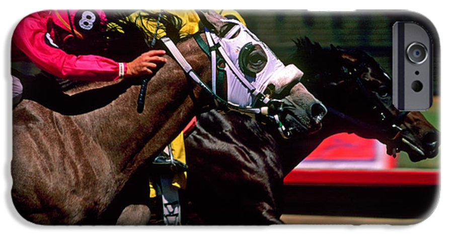 Horse IPhone 6 Case featuring the photograph Photo Finish by Kathy McClure