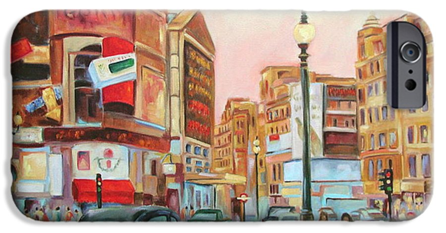 Cityscape IPhone 6 Case featuring the painting Picadilly by Ginger Concepcion