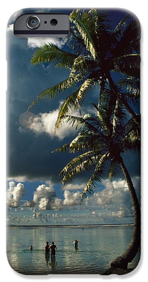 Island; Paradise; Beach; Palms; Palm; Palm Trees; Calm Water; Tropical; Swimmers; Vacation; Ideal; T IPhone 6 Case featuring the photograph Pigeon Point On Tobago by Carl Purcell