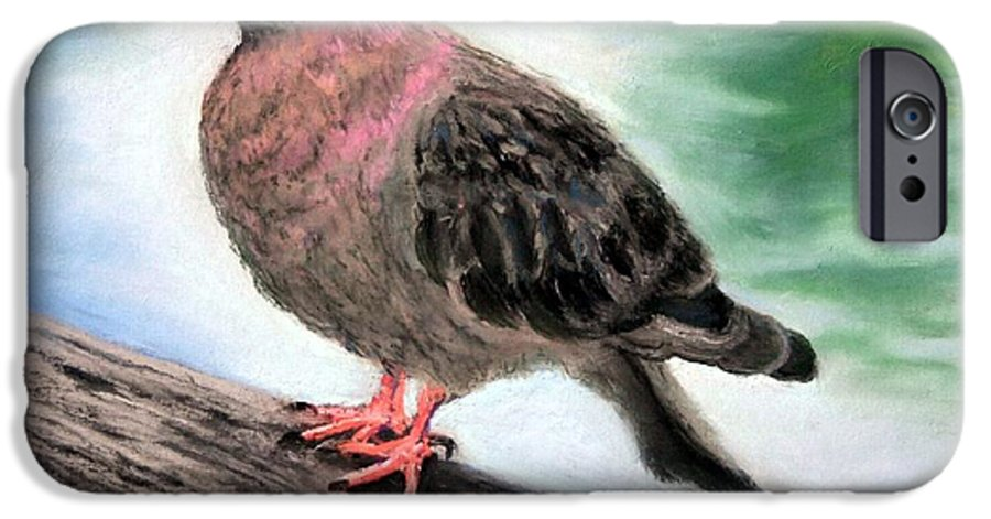 Pigeon IPhone 6 Case featuring the painting Pigeon Toes by Minaz Jantz