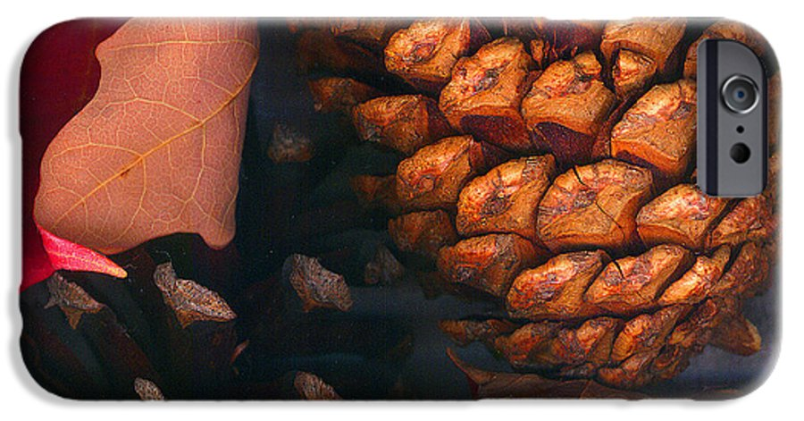 Pine Cones IPhone 6 Case featuring the photograph Pine Cones And Leaves by Nancy Mueller
