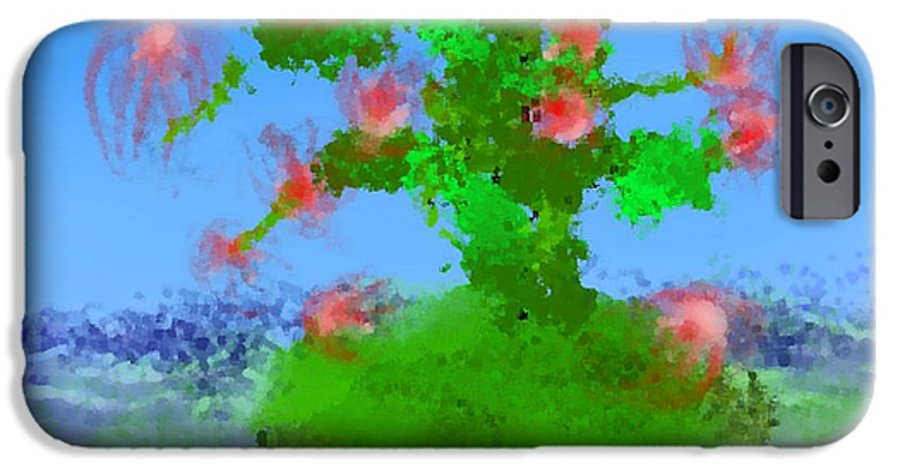 Landscape.sea.birds.island.sky.tree .rest Stop.wave.wind. IPhone 6 Case featuring the digital art Pink Birds Ongreen Island by Dr Loifer Vladimir