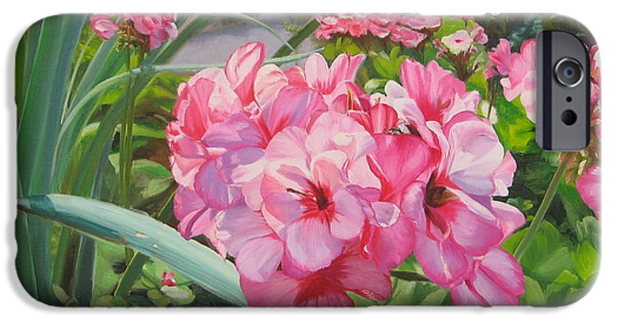 Pink Geraniums IPhone 6 Case featuring the painting Pink Geraniums by Lea Novak