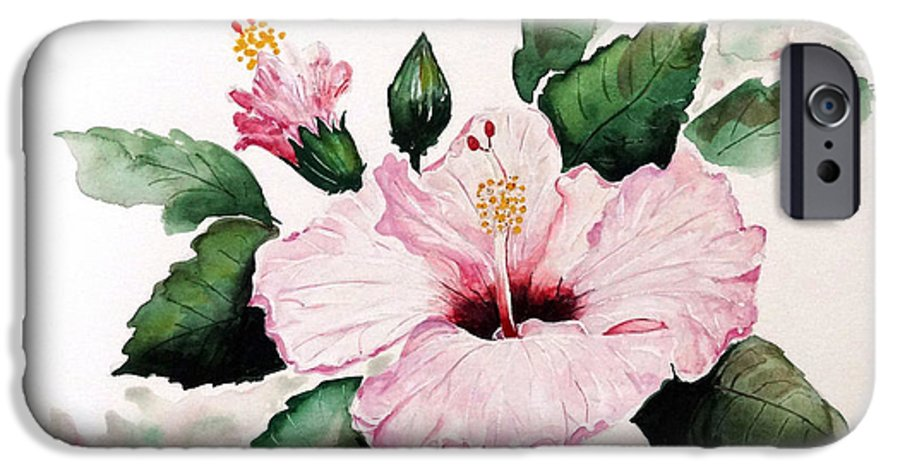 Hibiscus Painting  Floral Painting Flower Pink Hibiscus Tropical Bloom Caribbean Painting IPhone 6 Case featuring the painting Pink Hibiscus by Karin Dawn Kelshall- Best