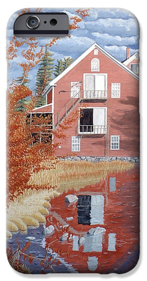 Autumn IPhone 6 Case featuring the painting Pink House In Autumn by Dominic White