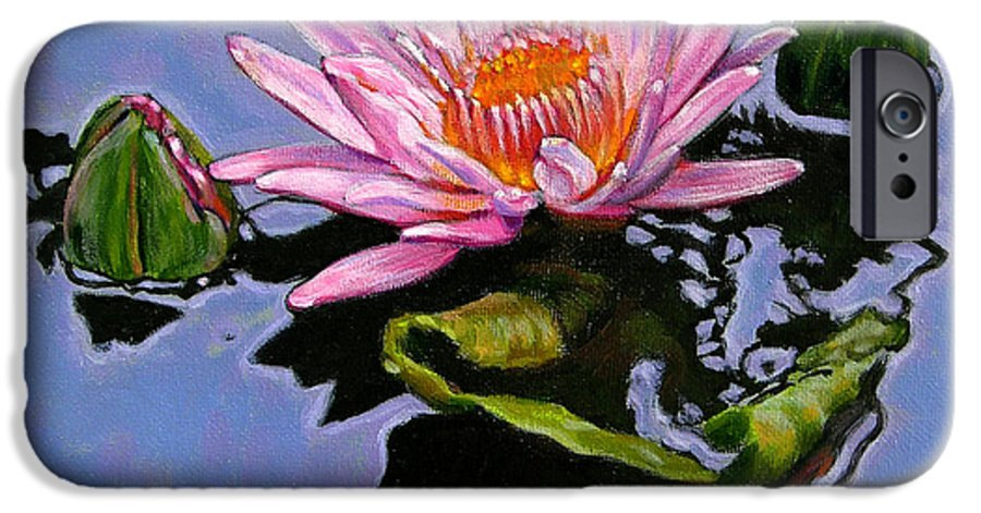 Water Lily IPhone 6 Case featuring the painting Pink Lily With Dancing Reflections by John Lautermilch