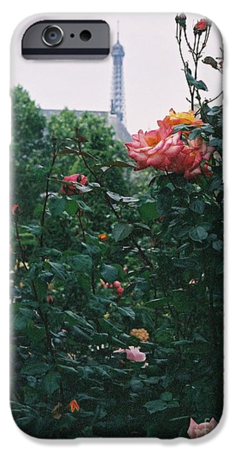 Roses IPhone 6 Case featuring the photograph Pink Roses And The Eiffel Tower by Nadine Rippelmeyer