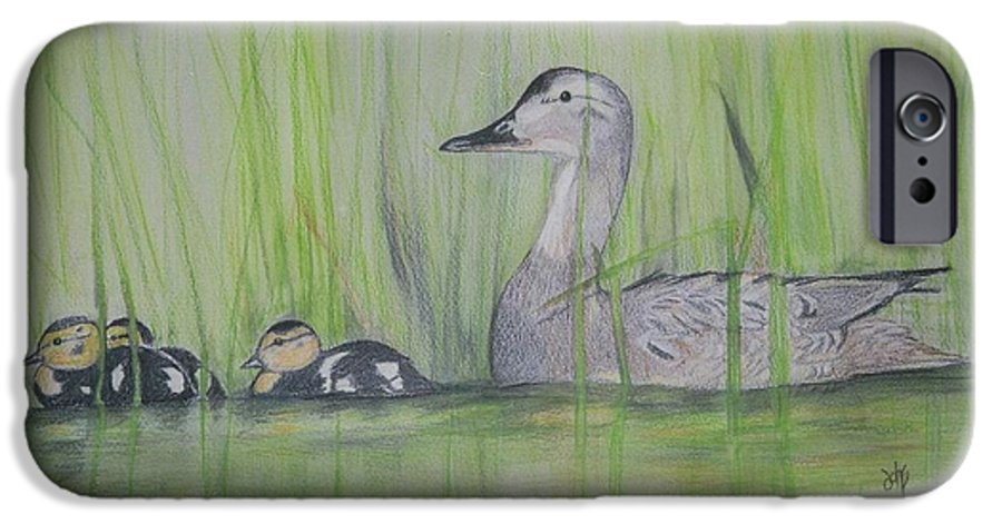 Pintail Ducks IPhone 6 Case featuring the painting Pintails In The Reeds by Debra Sandstrom