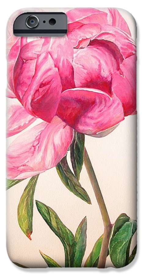 Floral Painting IPhone 6 Case featuring the painting Pivoine 1 by Muriel Dolemieux