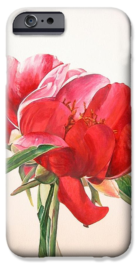Floral Painting IPhone 6 Case featuring the painting Pivoine 2 by Muriel Dolemieux