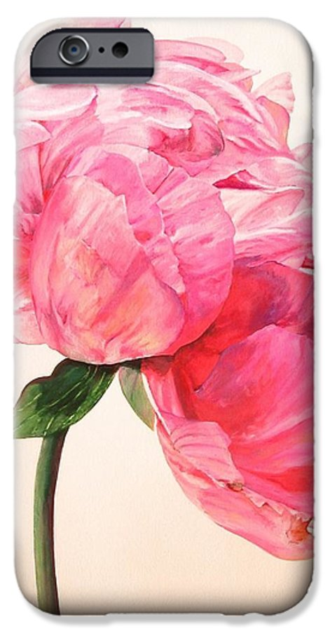 Floral Painting IPhone 6 Case featuring the painting Pivoine 3 by Muriel Dolemieux