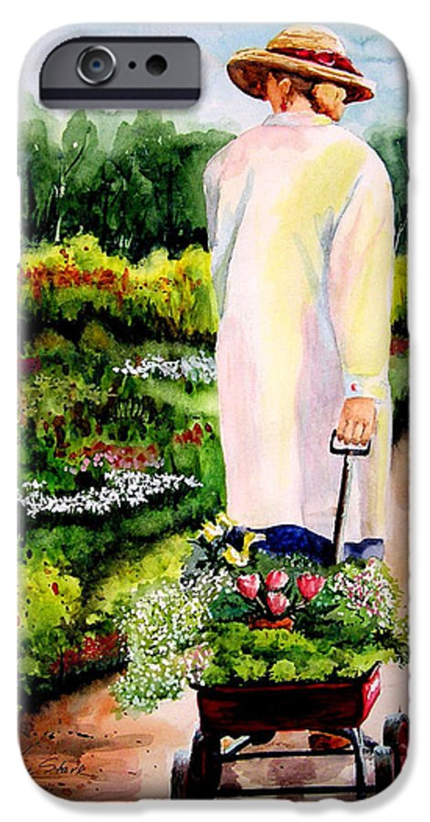 Garden IPhone 6 Case featuring the painting Planting Plans by Karen Stark