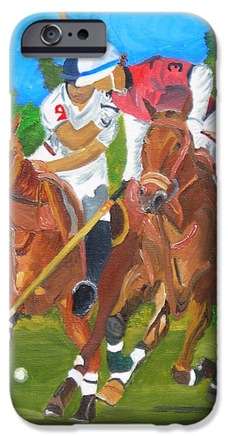 Polo IPhone 6 Case featuring the painting Play In Motion by Michael Lee