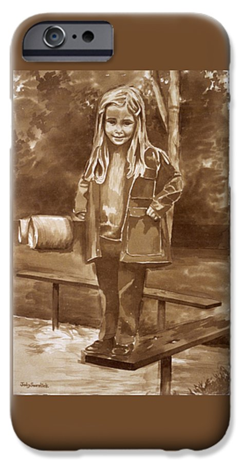 Little Girl On Bench In Park IPhone 6 Case featuring the painting Playground 2 by Judy Swerlick