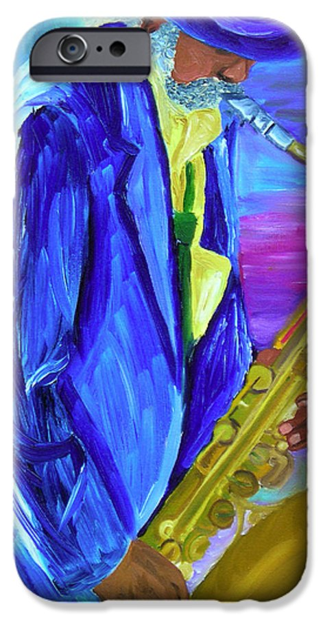 Street Musician IPhone 6 Case featuring the painting Playing The Blues by Michael Lee