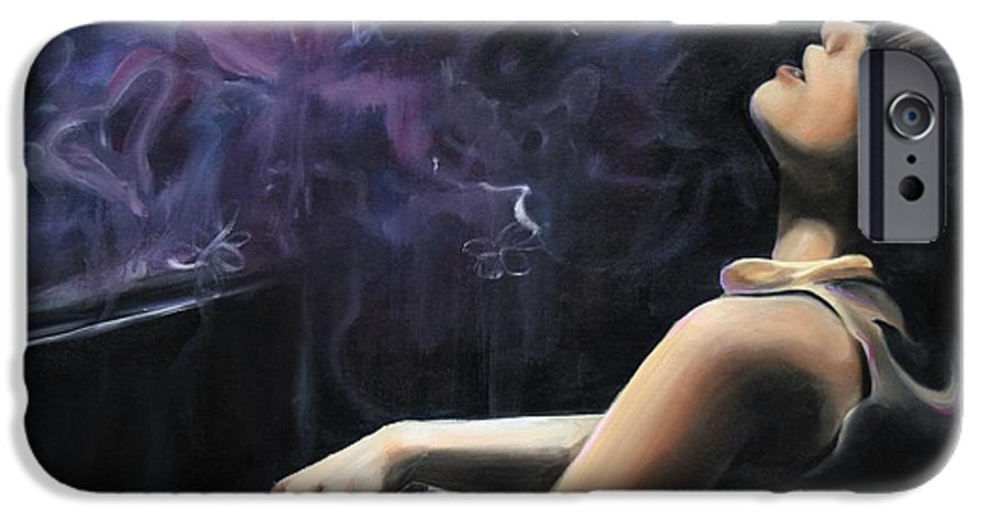 Piano IPhone 6 Case featuring the painting Playing With Feeling by Maryn Crawford