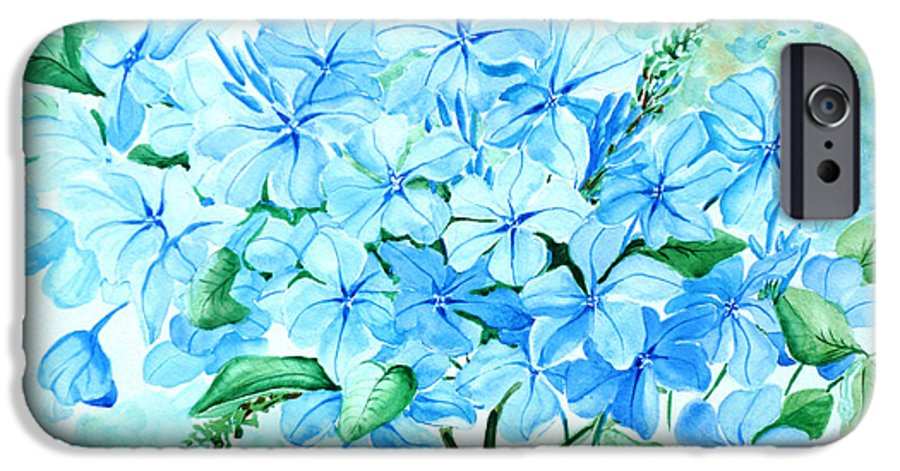 Floral Blue Painting Plumbago Painting Flower Painting Botanical Painting Bloom Blue Painting IPhone 6 Case featuring the painting Plumbago by Karin Dawn Kelshall- Best