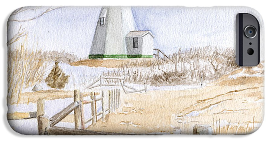 Lighthosue IPhone 6 Case featuring the painting Plymouth Light In Winter by Dominic White