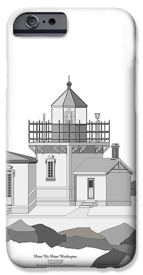 Lighthouse IPhone 6 Case featuring the painting Point No Point As Architectural Drawing by Anne Norskog