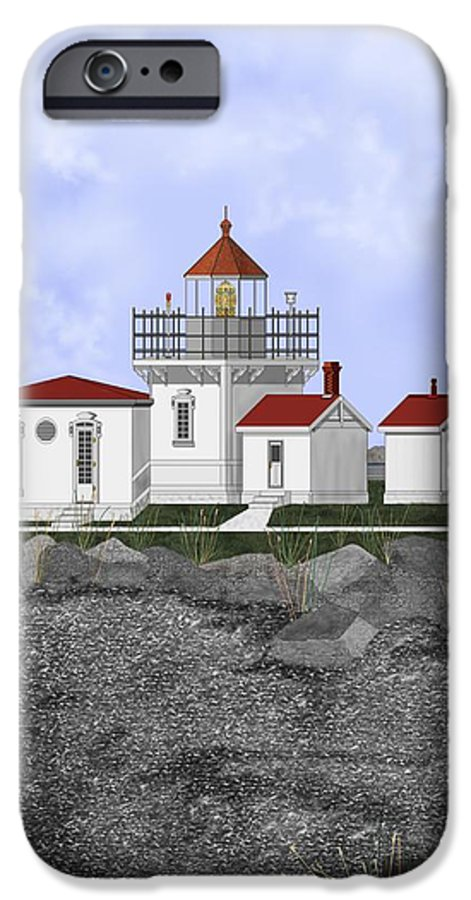 Lighthouse IPhone 6 Case featuring the painting Point No Point Lighthouse by Anne Norskog