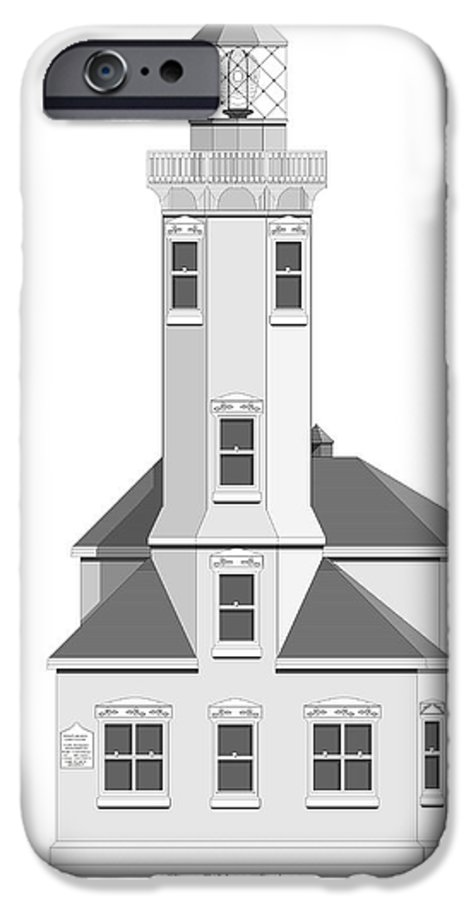 Lighthouse IPhone 6 Case featuring the painting Point Wilson Architectural Drawing by Anne Norskog