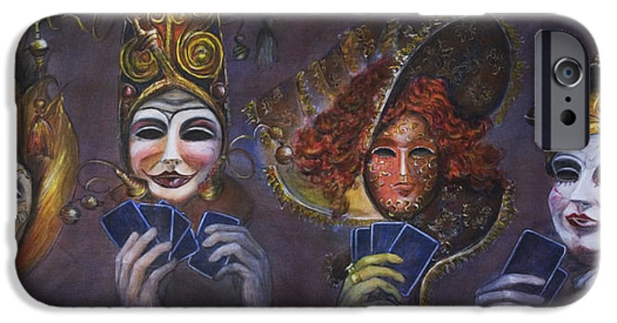 Masks IPhone 6 Case featuring the painting Poker Face by Nik Helbig