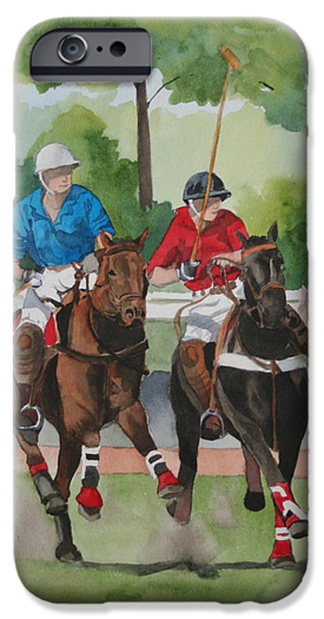 Polo IPhone 6 Case featuring the painting Polo In The Afternoon 2 by Jean Blackmer