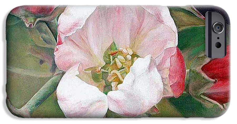 Floral Painting IPhone 6 Case featuring the painting Pommier by Muriel Dolemieux
