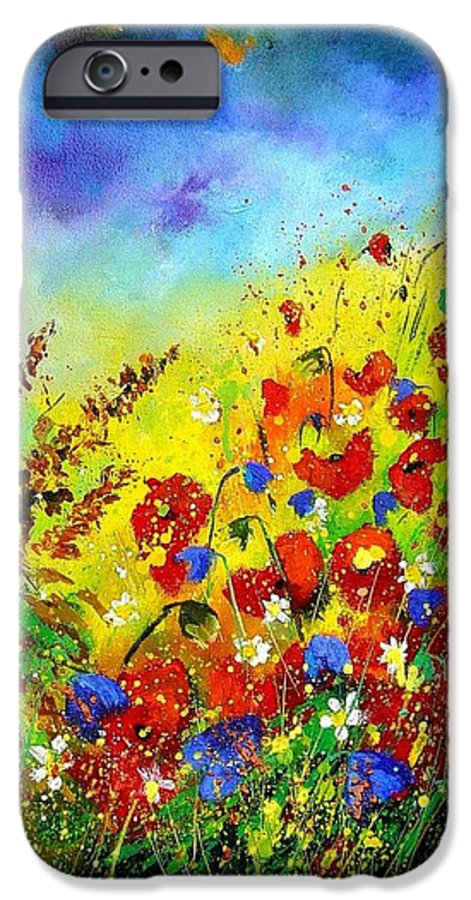 Poppies IPhone 6 Case featuring the print Poppies And Blue Bells by Pol Ledent