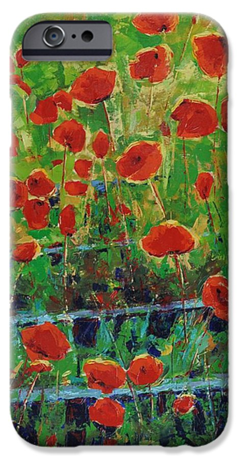 Poppies IPhone 6 Case featuring the painting Poppies And Traverses 1 by Iliyan Bozhanov