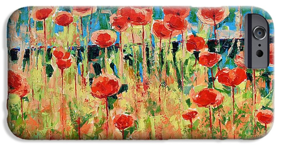 Poppies IPhone 6 Case featuring the painting Poppies And Traverses 2 by Iliyan Bozhanov