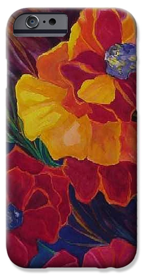 Flowers IPhone 6 Case featuring the painting Poppies by Carolyn LeGrand