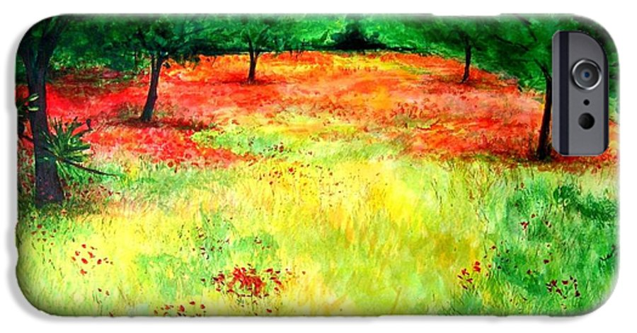 Landscape IPhone 6 Case featuring the painting Poppies In The Almond Grove by Lizzy Forrester