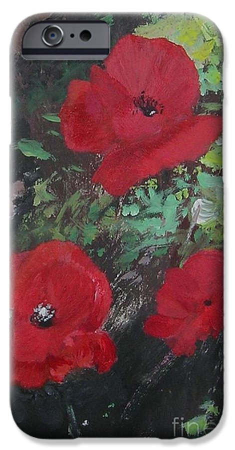 Red IPhone 6 Case featuring the painting Poppies by Lizzy Forrester