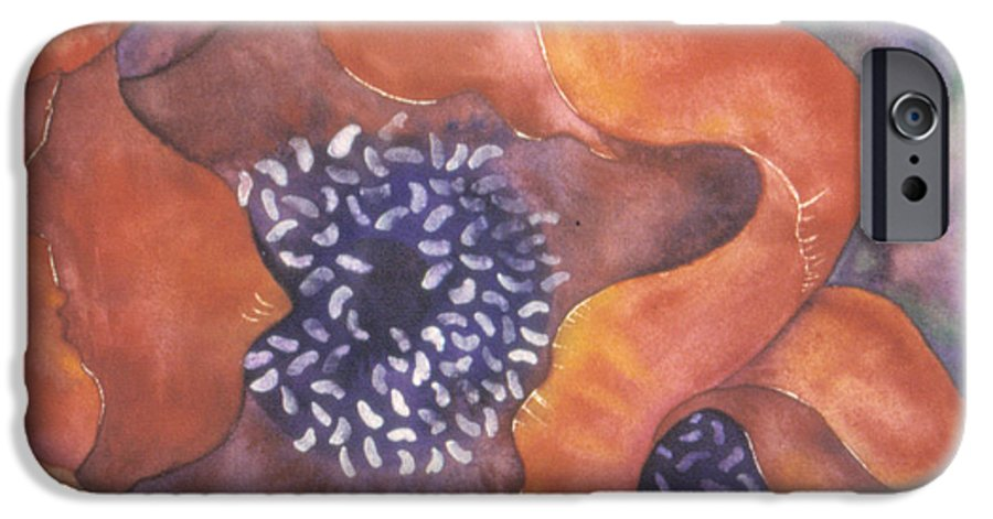 Flowers IPhone 6 Case featuring the painting Poppies On Blue by Christina Rahm Galanis