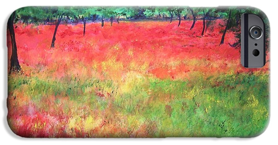 Original Landscape Painting. Poppy Field IPhone 6 Case featuring the painting Poppy Field II by Lizzy Forrester