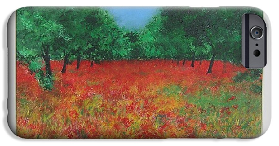 Poppy IPhone 6 Case featuring the painting Poppy Field In Ibiza by Lizzy Forrester
