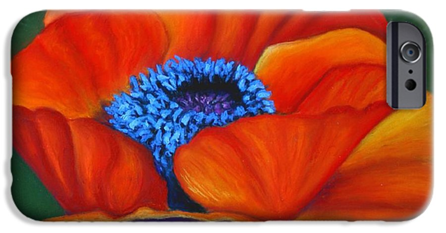 Red Flower IPhone 6 Case featuring the painting Poppy Pleasure by Minaz Jantz