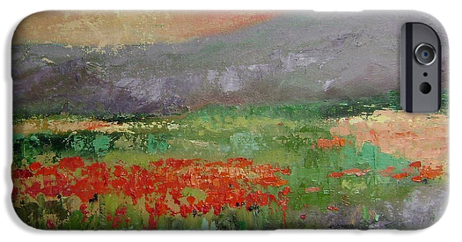 Poppies IPhone 6 Case featuring the painting Poppyfield by Ginger Concepcion