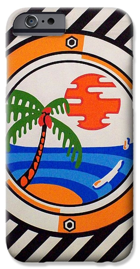 Palm Tree IPhone 6 Case featuring the painting Porthole Paradise by Alan Hogan