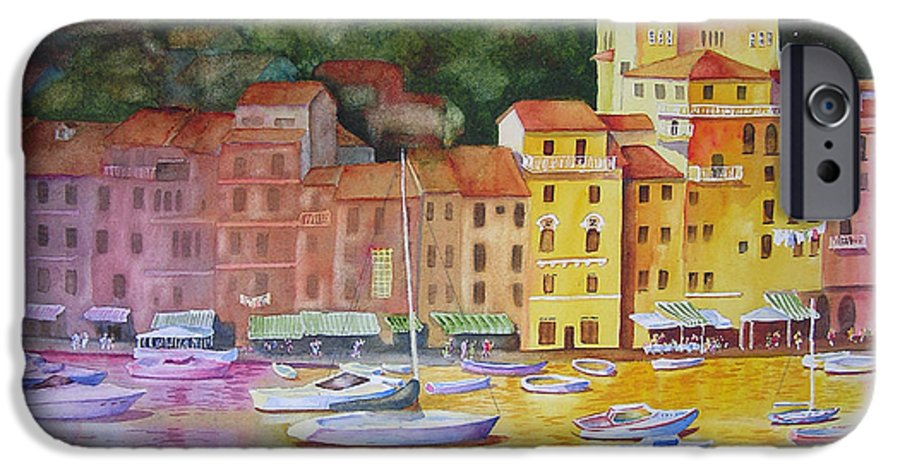 Italy IPhone 6 Case featuring the painting Portofino Afternoon by Karen Stark