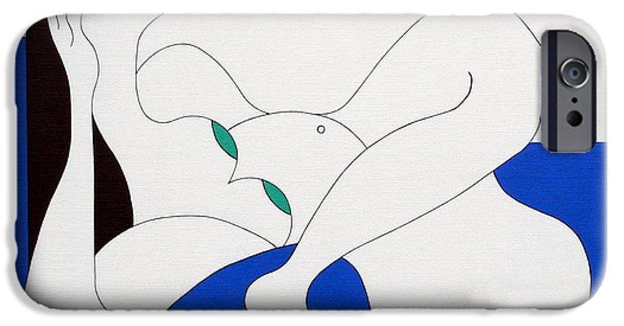 Women Green Bleu White Special IPhone 6 Case featuring the painting Position Women by Hildegarde Handsaeme