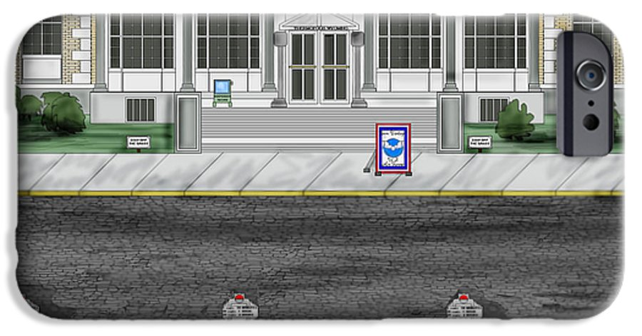 Townscape IPhone 6 Case featuring the painting Post Office In Thermopolis by Anne Norskog