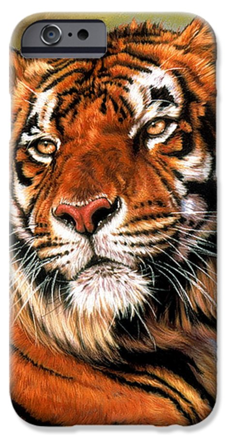 Tiger IPhone 6 Case featuring the pastel Power And Grace by Barbara Keith