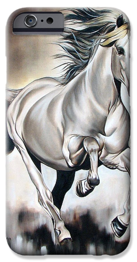 Horse IPhone 6 Case featuring the painting Power by Ilse Kleyn