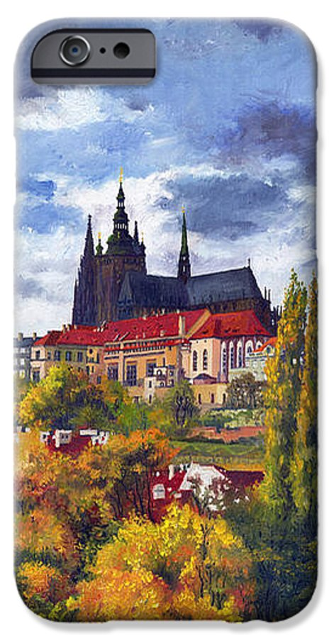 Prague IPhone 6 Case featuring the painting Prague Castle With The Vltava River by Yuriy Shevchuk
