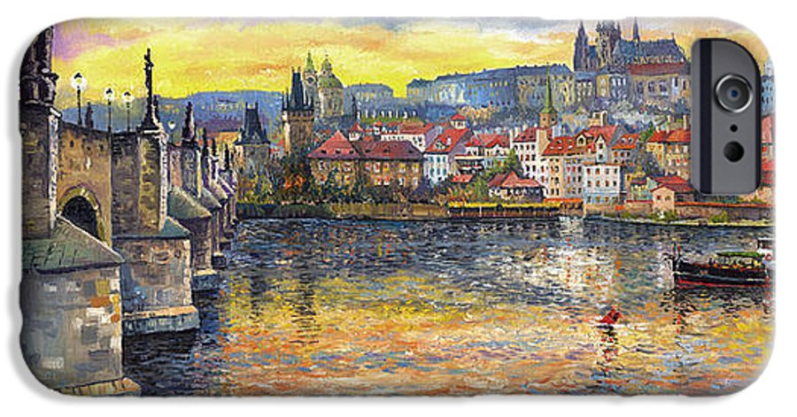Oil On Canvas IPhone 6 Case featuring the painting Prague Charles Bridge And Prague Castle With The Vltava River 1 by Yuriy Shevchuk