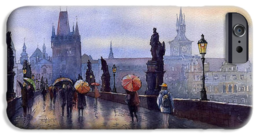 Cityscape IPhone 6 Case featuring the painting Prague Charles Bridge by Yuriy Shevchuk