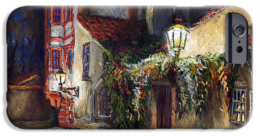 Prague IPhone 6 Case featuring the painting Prague Novy Svet Kapucinska Str by Yuriy Shevchuk